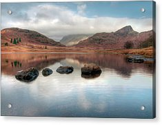 Sky And Mountain Reflection In Lake Acrylic Print by Terry Roberts Photography