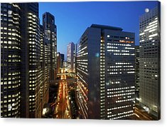 Skyscrapers In Commercial District Of Tokyo Acrylic Print by Vladimir Zakharov