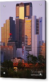 Skyscrapers In Downtown Dallas Acrylic Print by Jeremy Woodhouse