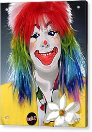 Smiling Clown Acrylic Print by Methune Hively