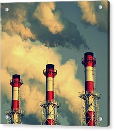 Smoke Coming From Big Chimneys, Moscow Acrylic Print by Fedor Vilner