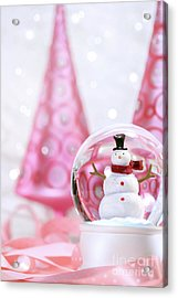 Snow Globe With Pink  Trees Acrylic Print by Sandra Cunningham