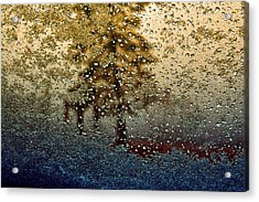 Snow On My Window Acrylic Print by Ellen Heaverlo