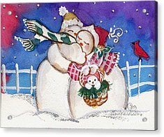 Snow People Acrylic Print by Sylvia Pimental