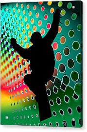 Snowboard In Cosmic Snowstorm Acrylic Print by Elaine Plesser