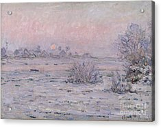 Snowy Landscape At Twilight Acrylic Print by Claude Monet