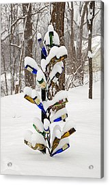 Snowy Wine Bottle Sculpture Acrylic Print by Aimee L Maher Photography and Art Visit ALMGallerydotcom