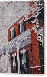 Snowy Yesteryear Acrylic Print by Patsy Sharpe