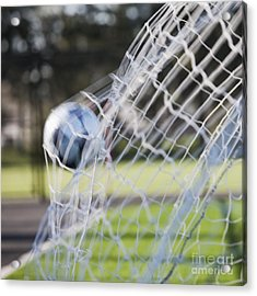 Soccer Ball In Goal Netting Acrylic Print by Jetta Productions, Inc