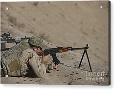 Soldier Fires A Russian Rpk Kalashnikov Acrylic Print by Terry Moore
