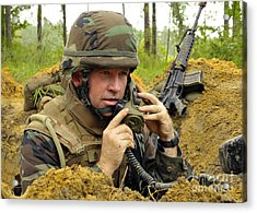 Soldier Using A Ta-1 Sound Powered Acrylic Print by Stocktrek Images