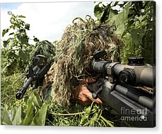 Soldiers Dressed In Ghillie Suits Acrylic Print by Stocktrek Images