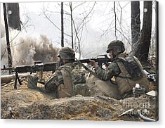 Soldiers Fire Their Weapons From A Fox Acrylic Print by Stocktrek Images