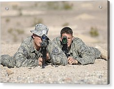 Soldiers Look Through The Scope Acrylic Print by Stocktrek Images