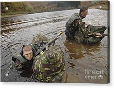 Soldiers Participate In A River Acrylic Print by Andrew Chittock