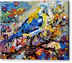 Songbird Blue In A Tree Acrylic Print by Ginette Callaway