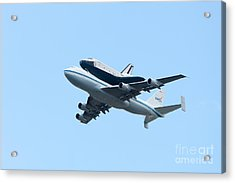 Space Shuttle Enterprise Arrives In New York City Acrylic Print by Clarence Holmes