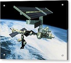 Space Station In Orbit Acrylic Print by Stockbyte