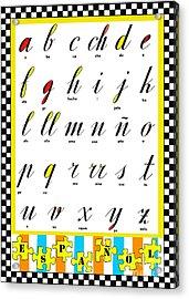 Spanish Alphabet Juvenile Licensing Art Acrylic Print by Anahi DeCanio