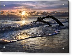 Sparkly Water At Driftwood Beach Acrylic Print by Debra and Dave Vanderlaan