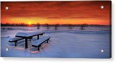 Spectaculat Winter Sunset Acrylic Print by Jaroslaw Grudzinski