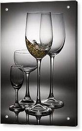 Splashing Wine In Wine Glasses Acrylic Print by Setsiri Silapasuwanchai