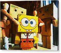 Spongebob Always Loves The Group Hugs Acrylic Print by Steve Taylor