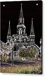 St Louis Cathedral Jackson Square French Quarter New Orleans Glowing Edges Digital Art  Acrylic Print by Shawn O'Brien