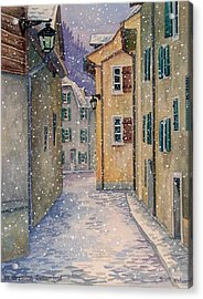 St Ursanne In Snow Acrylic Print by Scott Nelson