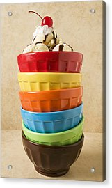 Stack Of Colored Bowls With Ice Cream On Top Acrylic Print by Garry Gay