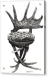 Stag Antlers Chair Acrylic Print by Adendorff Design
