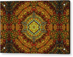 Stained Glass Gas Ring Mandala Acrylic Print by Richard H Jones