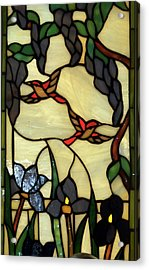 Stained Glass Humming Bird Vertical Window Acrylic Print by Thomas Woolworth