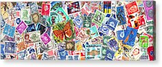 Stamp Collection . 3 To 1 Proportion Acrylic Print by Wingsdomain Art and Photography