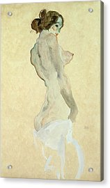 Standing Female Nude Acrylic Print by Egon Schiele