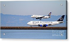 Star Alliance Airlines And Frontier Airlines Jet Airplanes At San Francisco Airport . Long Cut Acrylic Print by Wingsdomain Art and Photography