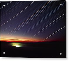 Star Trails Over Queen Charlotte City, Canada Acrylic Print by David Nunuk