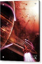 Starships Hone Their Skills Acrylic Print by Brian Christensen