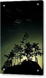 Startrails And Moonlit Fog, Canada Acrylic Print by David Nunuk