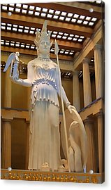 Statue Of Athena And Nike Acrylic Print by Linda Phelps