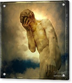 Statue Of Human Covering Face Acrylic Print by Bernard Jaubert