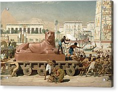 Statue Of Sekhmet Being Transported  Detail Of Israel In Egypt Acrylic Print by Sir Edward John Poynter