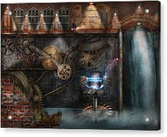 Steampunk - Industrial Society Acrylic Print by Mike Savad