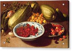 Still Life Of Cherries - Marrows And Pears Acrylic Print by Italian School