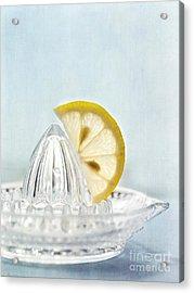 Still Life With A Half Slice Of Lemon Acrylic Print by Priska Wettstein