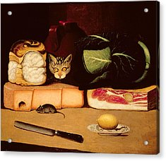Still Life With Cat And Mouse Acrylic Print by Anonymous