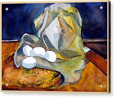 Still Life With Eggs Acrylic Print by Mindy Newman