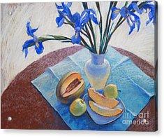 Still Life With Irises. Acrylic Print by Ekaterina Gomol