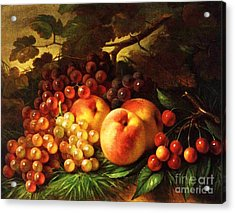 Still Life With Peaches Acrylic Print by Pg Reproductions