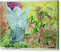 Stone Angel And Caladiums Acrylic Print by Melanie Palmer